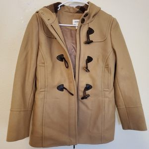 Tan overcoat with hoodie